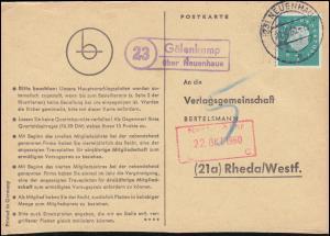 Landpost Gölenkamp über NEUENHAUS 21.10.1960 auf Postkarte nach Rheda