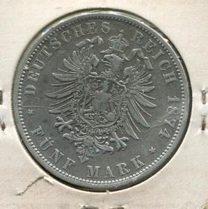 Preußen Wilhelm, kleiner Reichsadler, 5 Mark von 1874 A, Silber 900, sehr schön