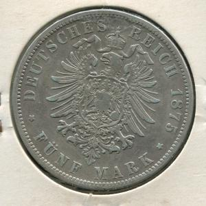 Preußen Wilhelm, kleiner Reichsadler, 5 Mark von 1875 B, Silber 900, ss