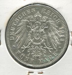 Preußen Wilhelm II. mit Uniform, 5 Mark von 1913, Silber 900, ss