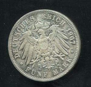 Preußen Wilhelm II., großer Reichsadler, 5 Mark von 1907, Silber 900, ss