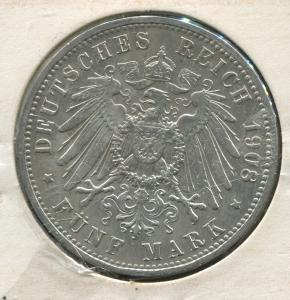 Preußen Wilhelm II., großer Reichsadler, 5 Mark von 1908, Silber 900, ss