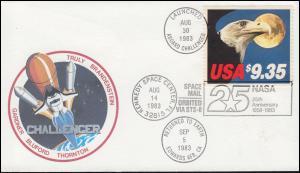 USA 1648C Adler Schmuck-Brief 25 Jahre NASA EF auf Raketenpost Challenger 1983