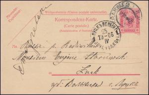 Österreich Postkarte P 149A Antwortteil aus KRAKAU / KRAKOW 4.5.1906 nach Luzk