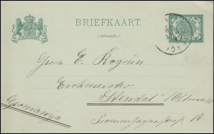 Curacao Postkarte 2 Cent Ziffer grün CURACAO 5.3.1908 nach Stendal / Deutschland