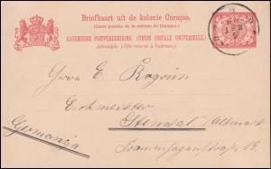 Curacao Postkarte 5 Cent Ziffer rot CURACAO 5.3.1908 nach Stendal / Deutschland