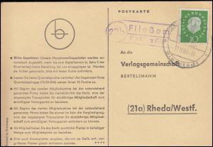 Landpost Fließem über Bitburg (Eifel), Postkarte SSt BITBURG Bierstadt 17.10.60