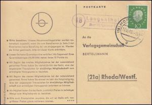 Landpost Langenthal über HOFGEISHEIM 1 - 13.10.1960 auf Postkarte nach Rheda