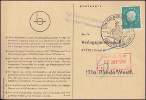 Landpost Herbsthausen über BAD MERGENTHEIM Postkarte mit SSt 27.10.60 nach Rheda