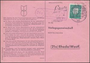 Landpost Vahrendorf über HAMBURG-HARBURG 4.10.1960 auf Postkarte nach Rheda