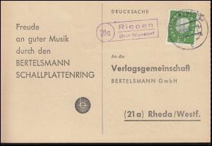 Landpost Riepen über WUNSTORF 15.10.1960 auf Postkarte nach Rheda/Westf.
