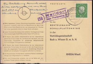 Landpost Weildorf über FREILASSING 9.9.1960 auf Postkarte nach Rheda/Westf.