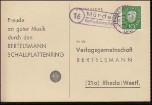 Landpost Münden über FRANKENBERG (EDER) LAND 1.11.1960 auf Postkarte nach Rheda