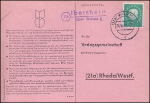Landpost Ibersheim über WORMS 2 - 24.10.1960 auf Postkarte nach Rheda