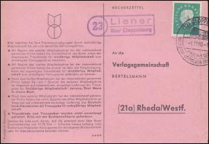 Landpost Liener über Clopenburg auf Postkarte SSt CLOPPENBURG 4.11.60 nach Rheda