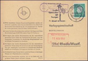 Landpost Wehden über BREMERHAVEN 12.11.1960 auf Postkarte nach Rheda/Westf.