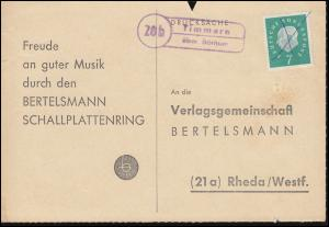Landpost Timmern über Borkum auf Postkarte handschriftlich entwertet, 31.8.1960