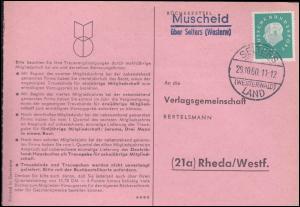 Landpost Muscheid über SELTERS WESTERWALD LAND 29.10.1960, Postkarte nach Rheda