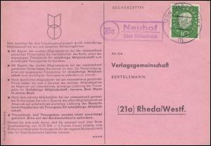 Landpost Neuhof über HILDESHEIM 10.9.1960 auf Postkarte nach Rheda/Westf.