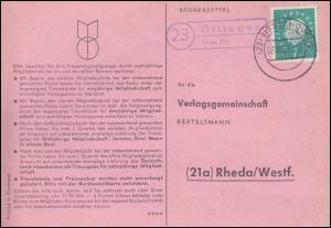 Landpost Ottingen über VISSELHÖVEDE 8.10.1960 auf Postkarte nach Rheda/Westf.