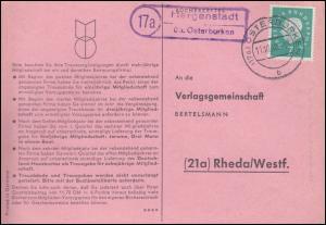 Landpost Hergenstadt über OSTERBURKEN 11.10.1960 auf Postkarte nach Rheda/Westf.