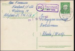 Landpost Papenhorst über CELLE 6.10.1960 auf Postkarte nach Rheda/Westf.