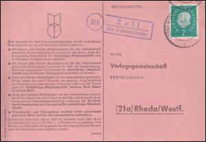 Landpost Zell über KIRCHHEIMBOLANDEN 24.10.1960 auf Postkarte nach Rheda/Westf.