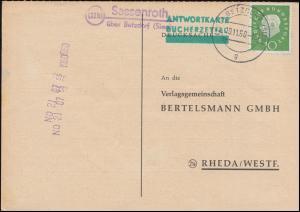 Landpost Sassenroth über BETZDORF (SIEG) 19.11.1960 auf Postkarte nach Rheda
