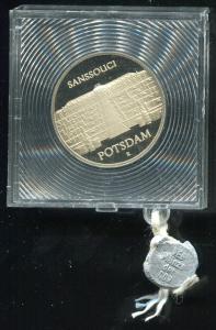 DDR Gedenkmünze Sanssouci Potsdam, 1986, Spiegelglanz PP in verplombter Kapsel