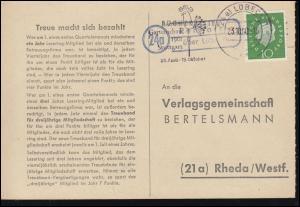Landpost Rehhorst über LÜBECK 23.10.1960 auf Postkarte nach Rheda