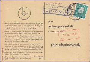 Landpost Nordel über UCHTE 17.10.1960 auf Postkarte nach Rheda