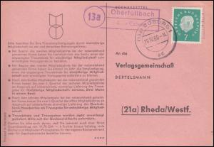 Landpost Oberfüllbach über COBURG 26.10.1960 auf Postkarte nach Rheda