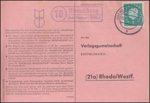Landpost Hirschberg über HERBORN (DILLKr.) 10.11.1960 auf Postkarte nach Rheda