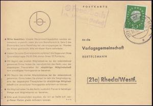 Landpost Feuerbach über MÜLLHEIM (BADEN) 31.10.1960, Postkarte nach Rheda/Westf.