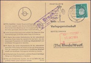 Landpost Ersehof über BRAUNSCHWEIG 14.10.1960 auf Postkarte nach Rheda