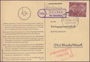 Landpost Hausen über GAMMERTINGEN 30.10.1960 auf Postkarte nach Rheda