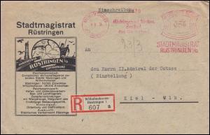 AFS WILHELMSHAVEN-RÜSTRINGEN Stadtmagistrat Rüstringen 9.8.34, R-Brief nach Kiel