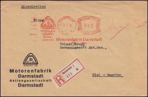 AFS Motorenfabrik Darmstadt 1.3.33 MODAAG KRUPP-Dieselmotoren, R-Brief nach Kiel