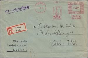 AFS Stadtrat Detmold 3.8.34 Hermannsdenkmal auf R-Brief nach Kiel-Wik 4.8.34