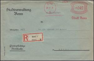AFS Stadtverwaltung Bonn 29.9.34 auf R-Brief / Dienstsache nach KIEL-WIK 30.9.34