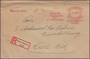 AFS Stadtverwaltung Hagen 27.8.34 Eingangspforte zum Sauerlandgebirge, R-Brief
