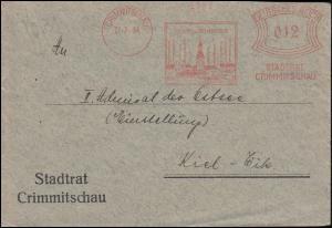 AFS Stadtrat Crimmitschau 27.7.34 Textilindustrie auf Brief nach Kiel-Wik