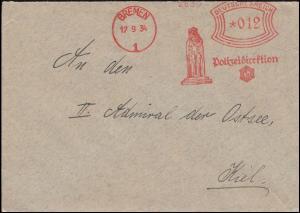 AFS Bremen Polizeidirektion 17.9.34 Rolandsäule auf Brief nach Kiel-Wik