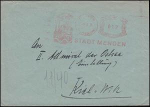 AFS Stadt MENDEN (KR. ISERLOHN) 1.3.35 auf Brief nach Kiel-Wik