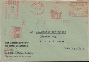 AFS Magdeburg Hauptstadt der Provinz Sachsen auf Brief mit 000 und 012 nach Kiel