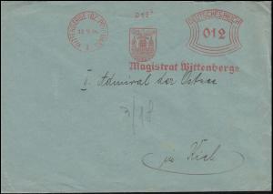 AFS Magistrat Wittenberge Stadtwappen WITTENBERGE (BZ. POTSDAM) 18.9.34 auf Bf.