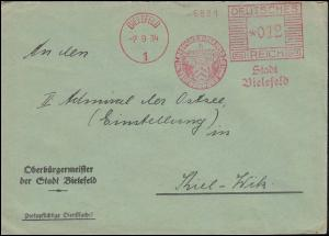 AFS Stadt Bielefeld - Besucht Bielefeld im Teutoburger Wald 7.9.34 auf Brief