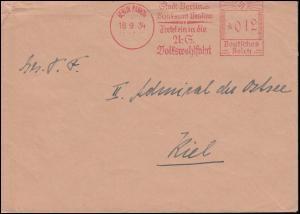 AFS Stadt Berlin Bezirksamt Pankow BERLIN-PANKOW 18.9.34 auf Brief nach Kiel-Wik