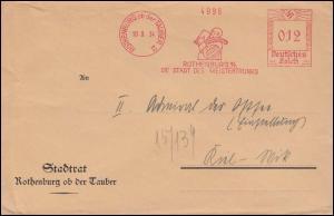 AFS Rothenburg ob der Tauber - Die Stadt des Meistertrunkes 10.8.34 auf Brief