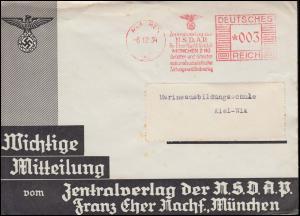 AFS Zentralverlag der NSDAP München 6.12.34 auf Drucksache nach Kiel
